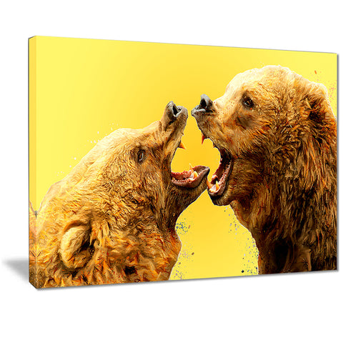 Bear Fight - Animal Canvas Print PT2315