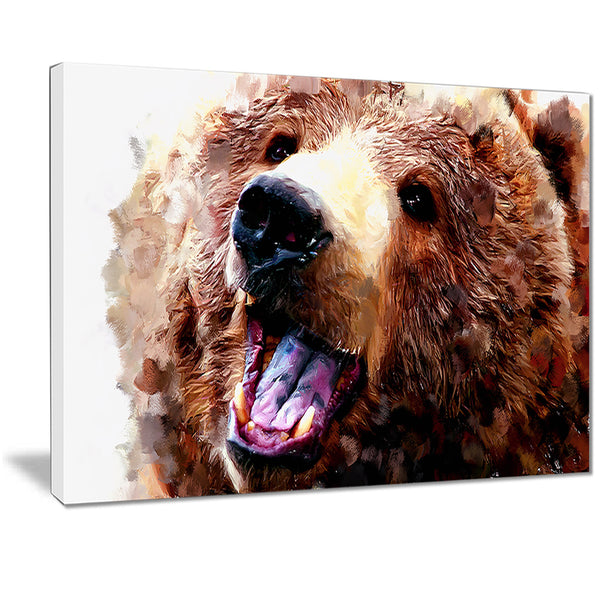 Happy Brown Bear- Animal Canvas Print PT2338