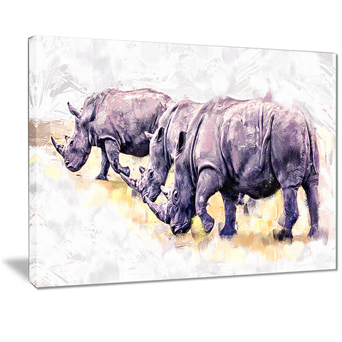 Walking Rhinos- Animal Canvas Print PT2340