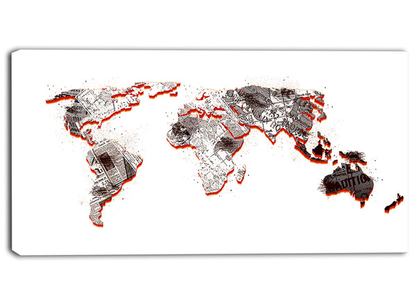 Red and Grey - Map Canvas Art PT2712