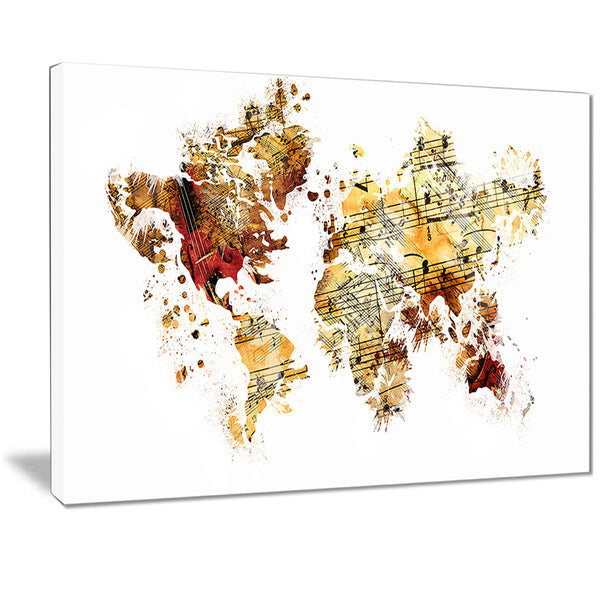 Brown and Beige - Map Canvas Art PT2735