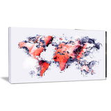 Red and Grey - Map Canvas Art PT2738