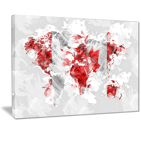 Canadian Flag Grey Map Canvas Art PT2742