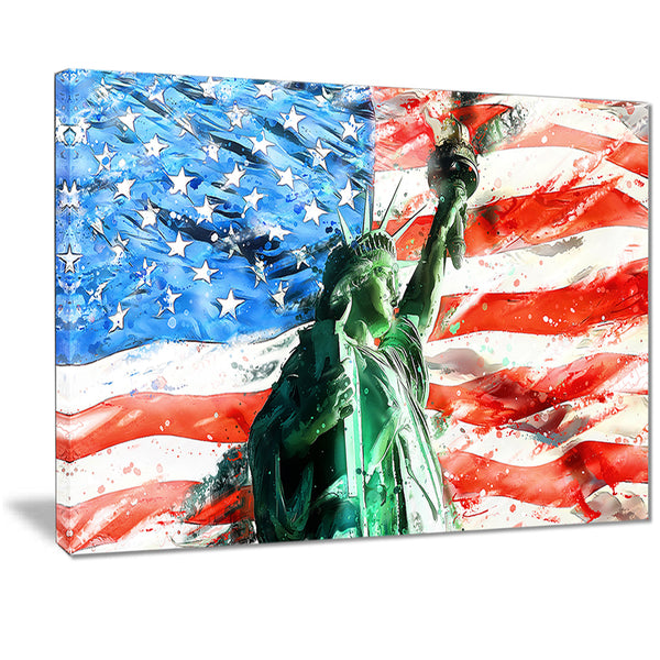 Lady Liberty on US Flag PT2805