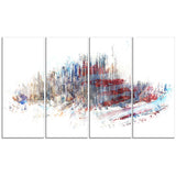 Red, White, and Blue Cityscape - Large Canvas Art PT3304