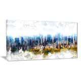 Abstract Blue Cityscape  - Large Canvas Art PT3312