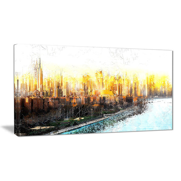 Abstract Sunset Cityscape  - Large Canvas Art PT3313
