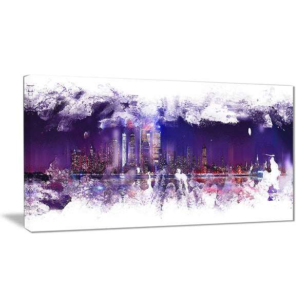 Abstract Purple Cityscape  - Large Canvas Art PT3320