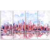 Pink Bay Cityscape - Large Canvas Art PT3321