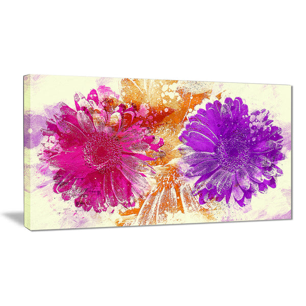 Pink and Purple Sunflowers - Floral Canvas Artwork