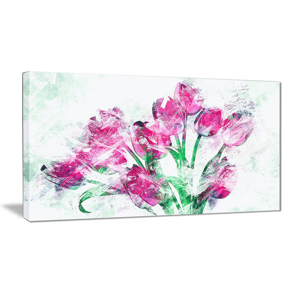 Pink Tulips - Floral Canvas Artwork