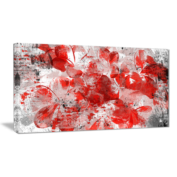 Orange Red Flower Petals - Floral Canvas Artwork