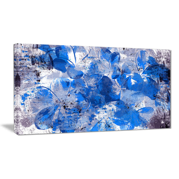 Blue Flower Petals - Floral Canvas Artwork