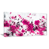 Pink Trail of Flowers - Floral Canvas Artwork