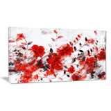 Red Orange Flower Trail - Floral Canvas Artwork