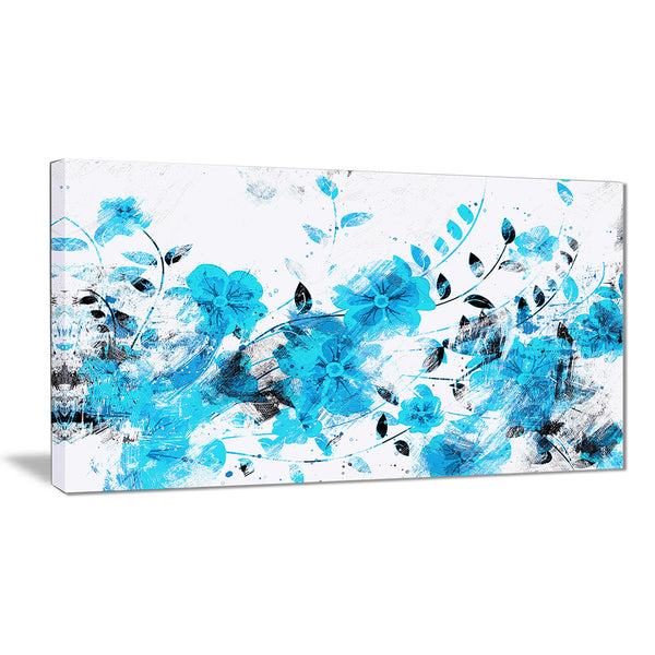 Light Blue Flower Trail - Floral Canvas Artwork