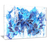 Electric Blue Flowers - Floral Canvas Artwork