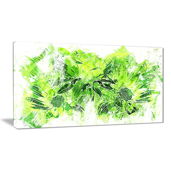 Electric Green Flowers - Floral Canvas Artwork