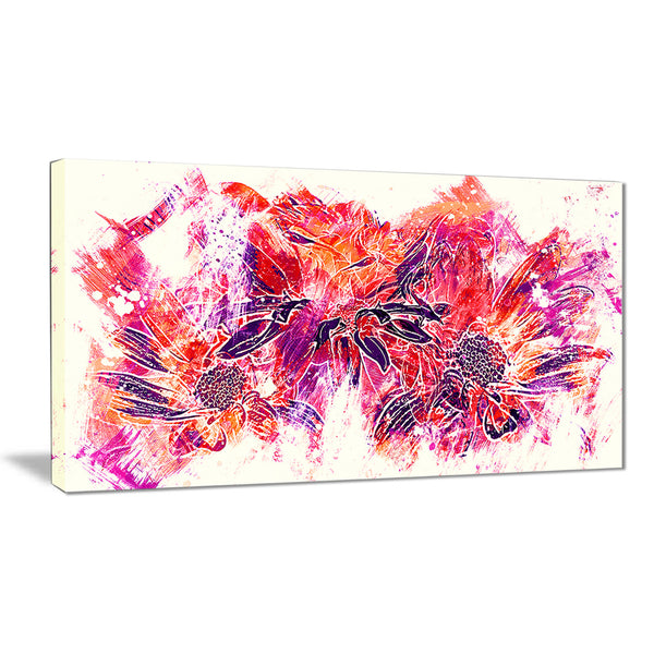 Electric Orange Flowers - Floral Canvas Artwork
