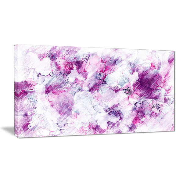 Pink Abstract Flowers - Floral Canvas Artwork