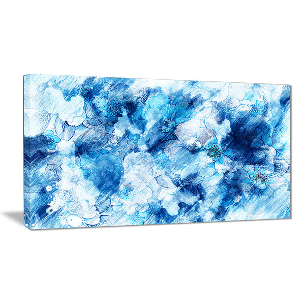 Blue Abstract Flowers - Floral Canvas Artwork