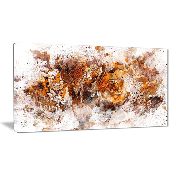 Light Brown Flowers - Floral Canvas Artwork
