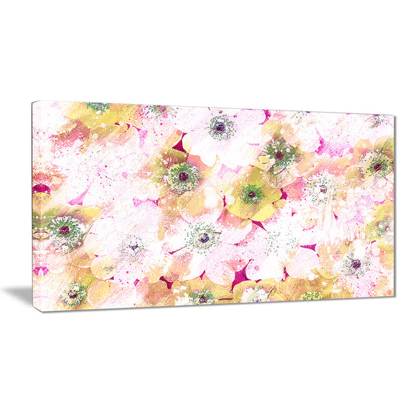 Pink and Yellow Flower Bed - Floral Canvas Artwork