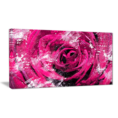 Center of the Pink Rose - Floral Canvas Artwork