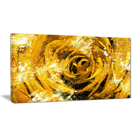 Center of the Yellow Rose - Floral Canvas Artwork