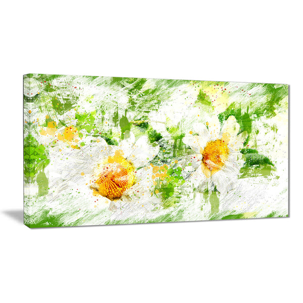 Pair of White Flowers - Floral Canvas Artwork