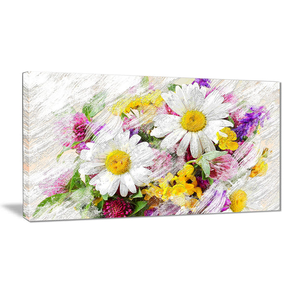 Wild Flowers Bouquet - Floral Canvas Artwork