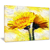 Pair of Yellow Flowers - Floral Canvas Artwork