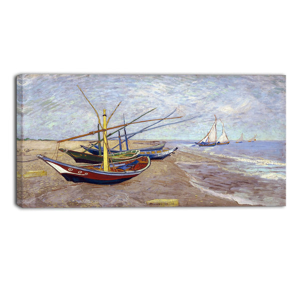 MasterPiece Painting - Van Gogh Fishing Boats on the Beach at Saintes