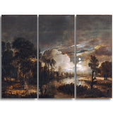 MasterPiece Painting - Aert van der Neer Moonlit Landscape with a View
