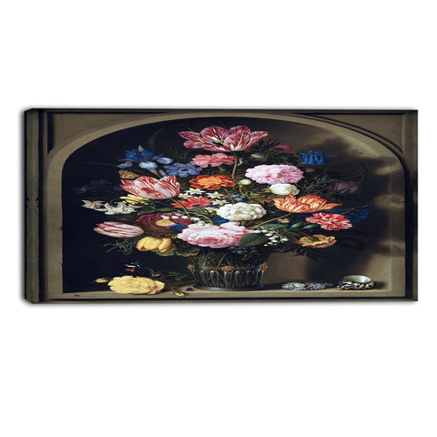MasterPiece Painting - Ambrosius Bosscha Bouquet of Flowers in a Stone Niche