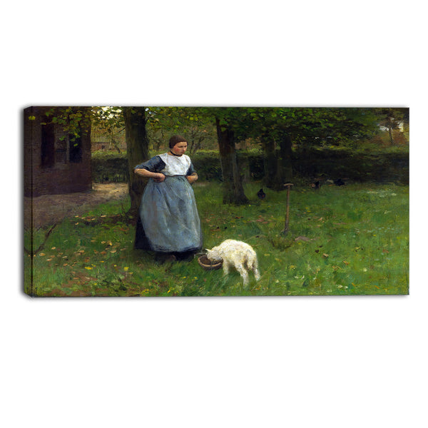 MasterPiece Painting - Anton Mauve Woman from Laren with lamb