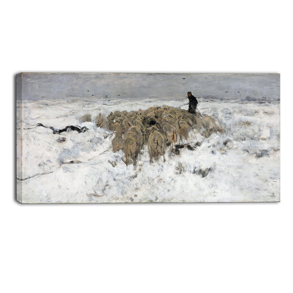 MasterPiece Painting - Anton Mauve Flock of sheep with shepherd in the snow