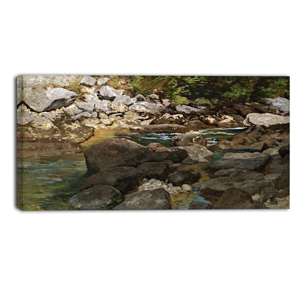 MasterPiece Painting - Carl Schuch Mountain Stream with Boulders