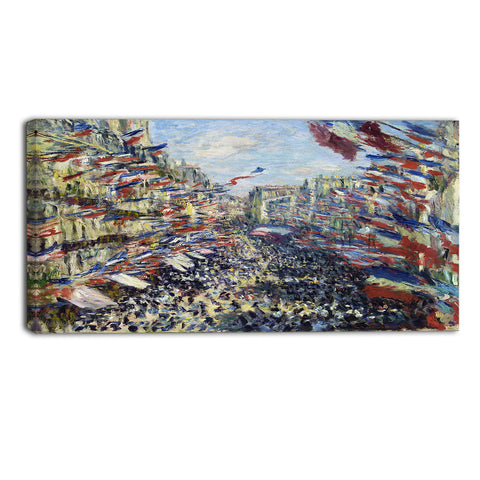 MasterPiece Painting - Claude Monet The Rue Montorgueil in Paris Celebration
