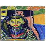 MasterPiece Painting - Ernst Ludwig Kirchner Franzi in Front of Carved Chair