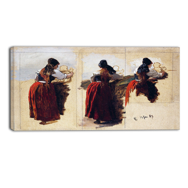 MasterPiece Painting - Hans Gude Studies of a Woman from Rugena