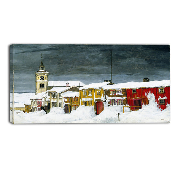 MasterPiece Painting - Harald Sohlberg Street in Roros in Winter