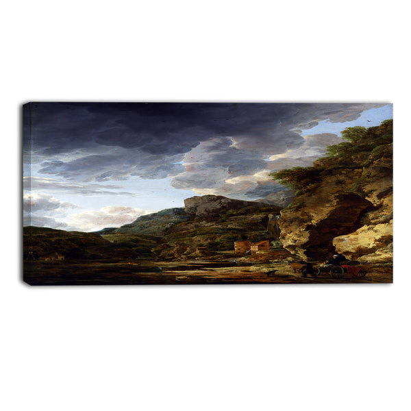 MasterPiece Painting - Herman Nauwincx Mountain Landscape with River and Wagon