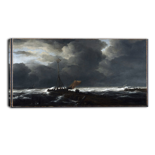 MasterPiece Painting - Jacob van Ruisdael Rough Sea at a Jetty