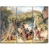 MasterPiece Painting - John Frederick Lewi Figures and Animals in a vineyard