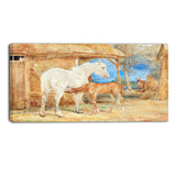 MasterPiece Painting - John Frederick Lewi Gray Mare and a Chestnut Foal