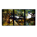 MasterPiece Painting - Louis Comfort Tiffany A Wooded Landscape in Three Panels