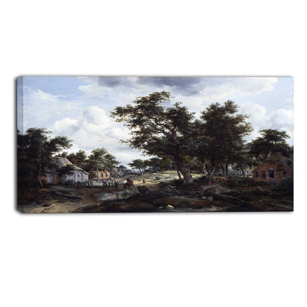 MasterPiece Painting - Meindert Hobbema A Wooded Landscape with Travelers