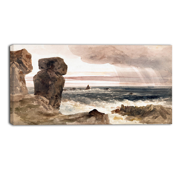 MasterPiece Painting - Peter DeWint Seascape with Rocks, Lizard, Cornwall