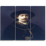 MasterPiece Painting - Rembrandt Harmensz Self Portrait wearing a Hat and two chains